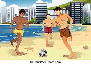 voetbal, mannen, strand, spelend