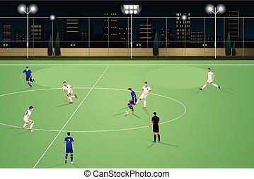 voetbal, mensen, spelend, nacht