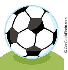 voetbal, met, een, blauwe , schets