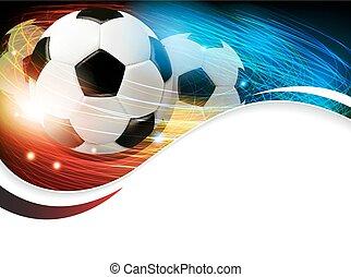 voetbal, met, lichten, en, vonken