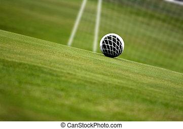 voetbal, met, net, in rug