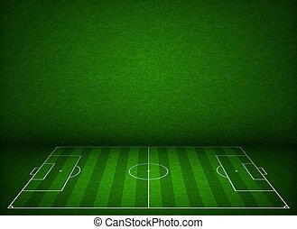 voetbal, of, football veld, of, pek, zijaanzicht, met,...
