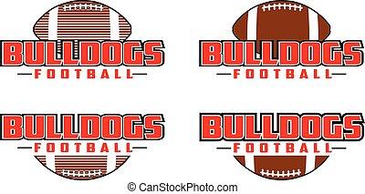 voetbal, ontwerp, bulldogs