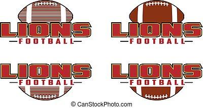 voetbal, ontwerp, leeuwen