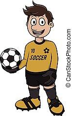 voetbal, ontwerp, spotprent