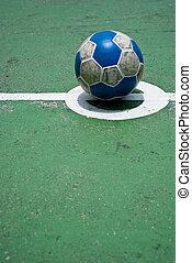 voetbal, op, de, akker