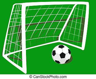 voetbal, op, de, gate.
