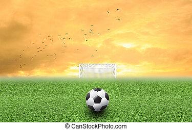voetbal, op, gras, ondergaande zon