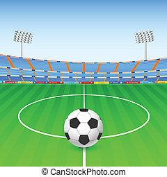 voetbal, op, stadion
