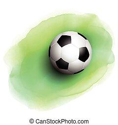 voetbal, op, watercolor, achtergrond