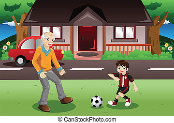 voetbal, opa, spelend, kleinzoon
