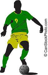 voetbal, players., gekleurde, vector, illustratie, voor, ontwerpers