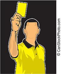 voetbal referee, geven, gele kaart