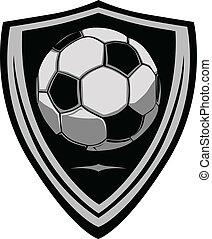 voetbal, schild, mal