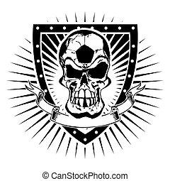 voetbal, schild, schedel