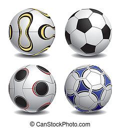 voetbal, set, bal