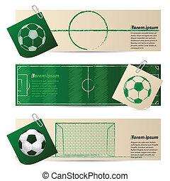 voetbal, set, drie, communie, etiket