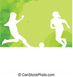 voetbal, spelend, achtergrond, geitjes