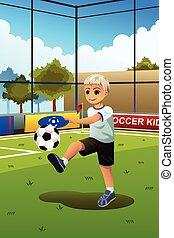 voetbal, spelend, geitje