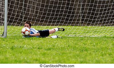 voetbal, spelend, geitjes