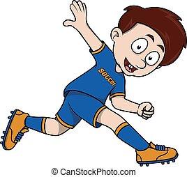 voetbal, spelend, kind