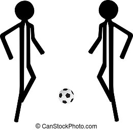 voetbal, spelend, man