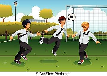 voetbal, spelend, student
