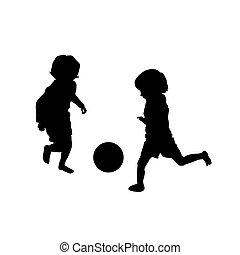 voetbal, spelend, twee, geitjes