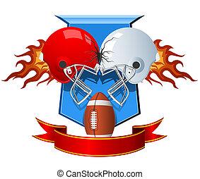 voetbal, sportende, het botsen, amerikaan, twee, helmen