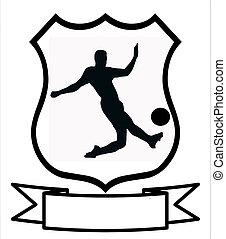 voetbal, sportende, schild