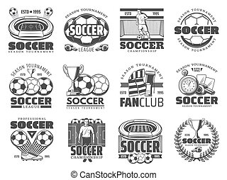 voetbal, sportende, voetbal, iconen