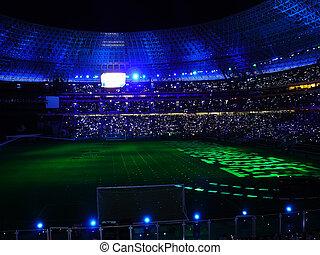 voetbal, stadion, nacht