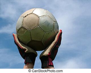 voetbal, -, te spelen wachten