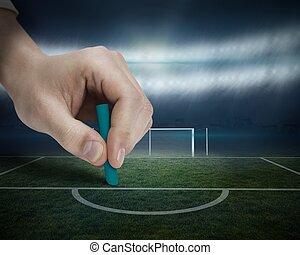 voetbal, tekening, hand, pek
