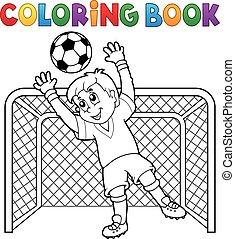voetbal, thema, 2, kleurend boek