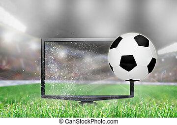 voetbal, tv scherm, vliegen, stadion, voetbal, uit