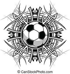 voetbal, van een stam, grafisch, beeld