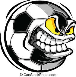 voetbal, vector, spotprent, bal, gezicht