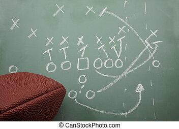 voetbal, vegen, diagram, en, voetbal