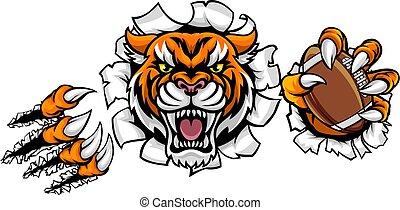 voetbal, verbreking, tiger, amerikaan, bal, achtergrond