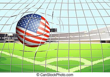 voetbal, vlag, bal, ons