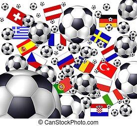 voetbal, vlaggen, europeaan
