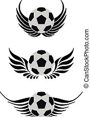 voetbal, vleugels, bal