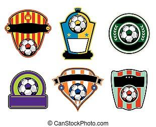 voetbal, voetbal, etiketten, kentekens