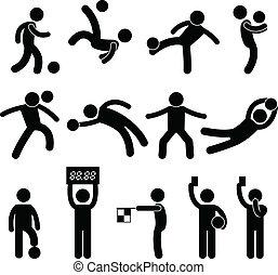 voetbal, voetbal, goalkeeper, scheidsrechter