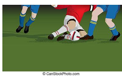 voetbal, voetbal, takel, dichtbegroeid boven