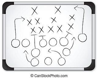 voetbal, whiteboard, -, strategie, spel, vector, teamwork,...