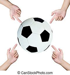 voetbal, wijzende, handen