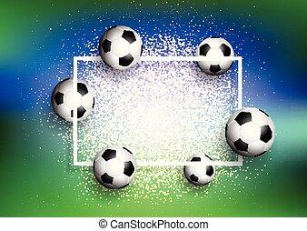 voetballen, op, schitteren, achtergrond, met, witte , frame, 1505