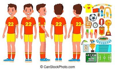 voetballer, mannelijke , vector., voetbal, action., lucifer, tournament., vrijstaand, plat, spotprent, karakter, illustratie